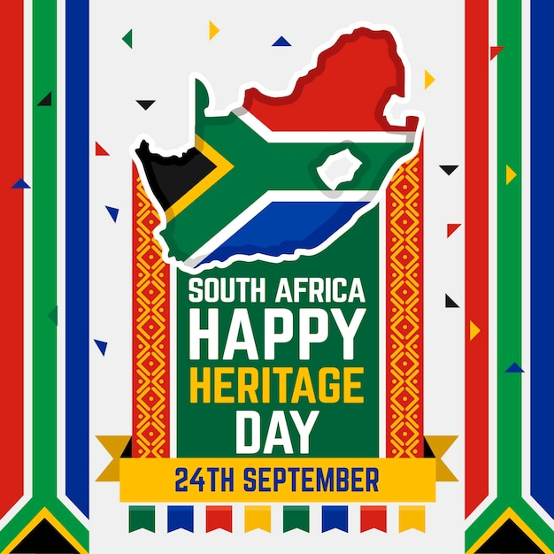 Flaches design südafrika erbe tag konzept Kostenlosen Vektoren
