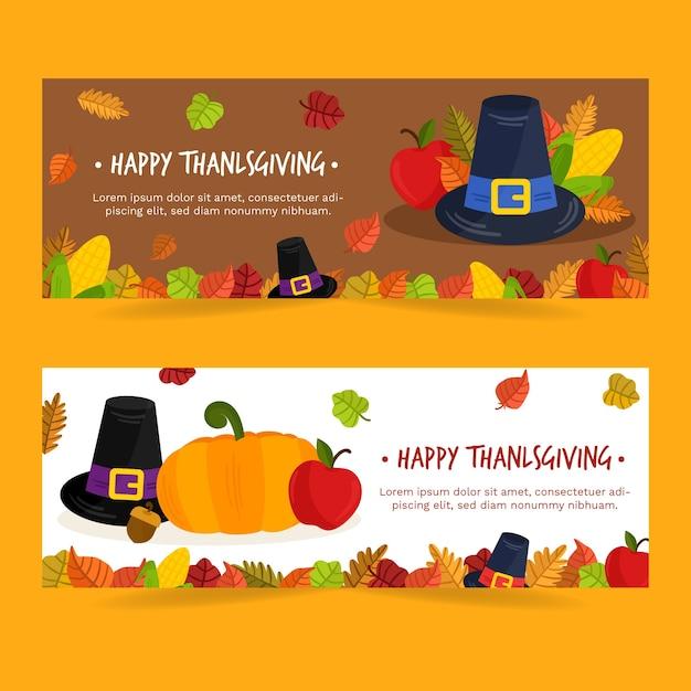 Flaches design thanksgiving banner vorlage Kostenlosen Vektoren
