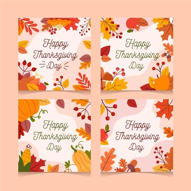 Flaches design thanksgiving instagram beiträge Kostenlosen Vektoren