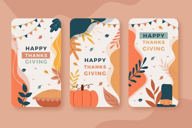 Flaches design thanksgiving instagram geschichten Kostenlosen Vektoren