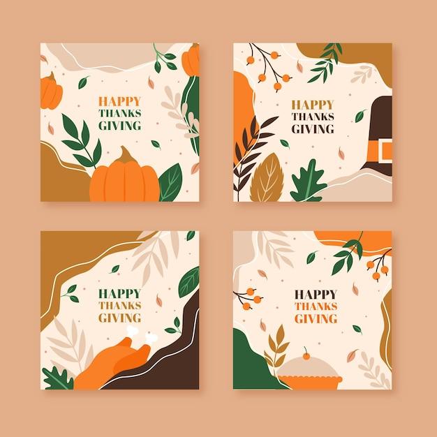 Flaches design thanksgiving instagram post pack Kostenlosen Vektoren