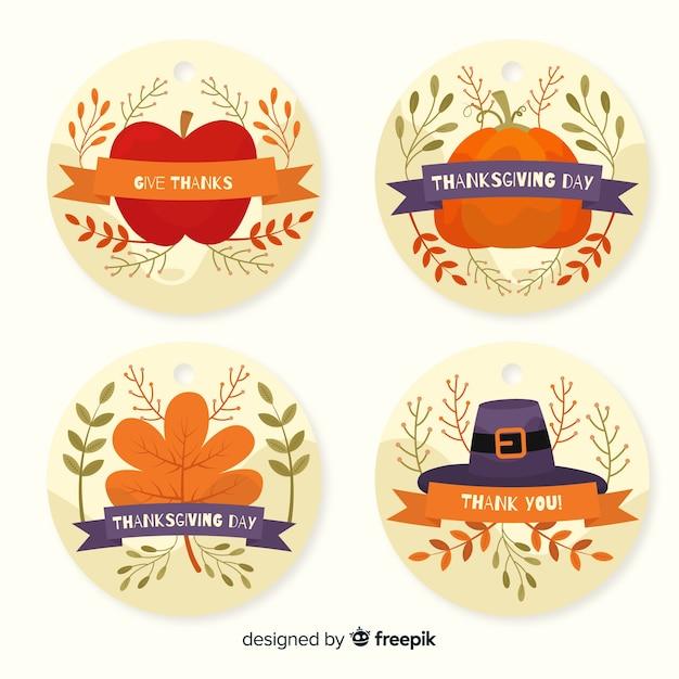 Flaches design thanksgiving-label-auflistung Kostenlosen Vektoren
