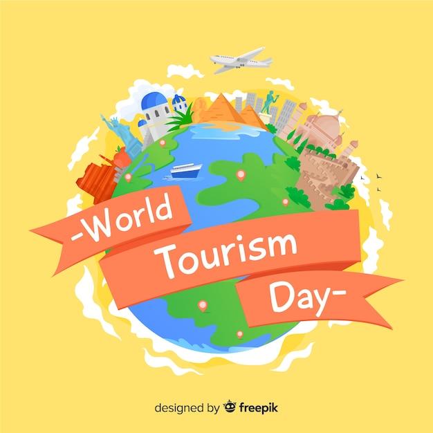 Flaches design tourismus tag hintergrund Kostenlosen Vektoren