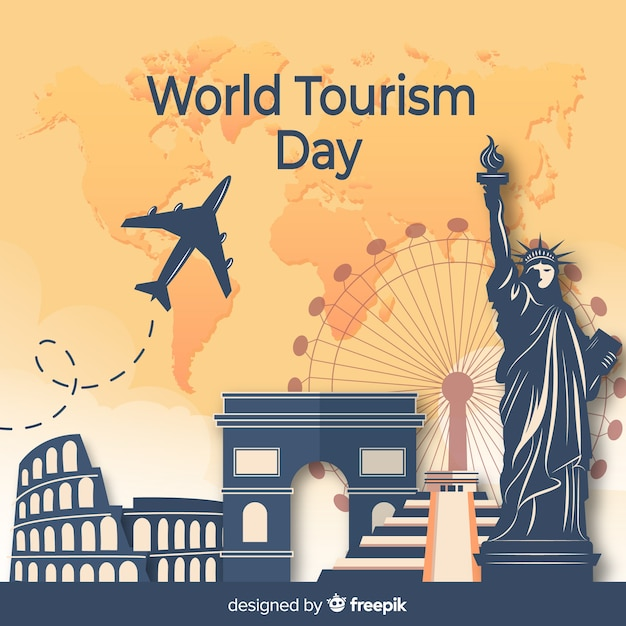 Flaches design tourismus tag mit sehenswürdigkeiten Kostenlosen Vektoren