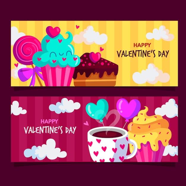 Flaches design valentinstag banner Kostenlosen Vektoren