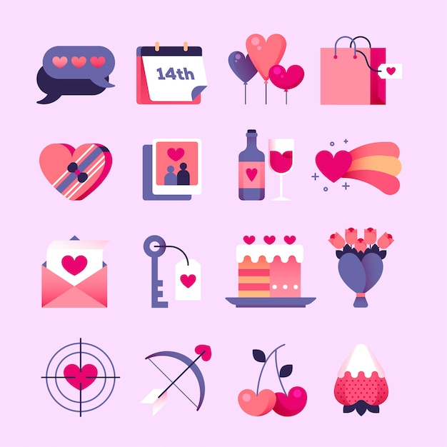 Flaches design valentinstag elementsammlung Kostenlosen Vektoren