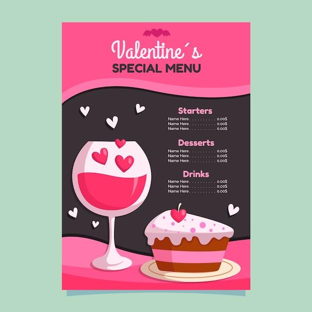 Flaches design valentinstag menü vorlage konzept Kostenlosen Vektoren