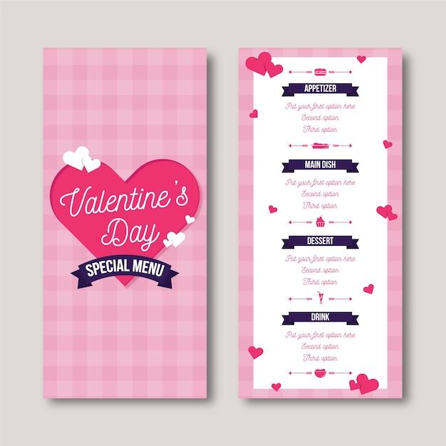 Flaches design valentinstag menüvorlage Kostenlosen Vektoren