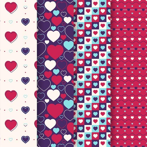 Flaches design valentinstag mustersammlung Kostenlosen Vektoren