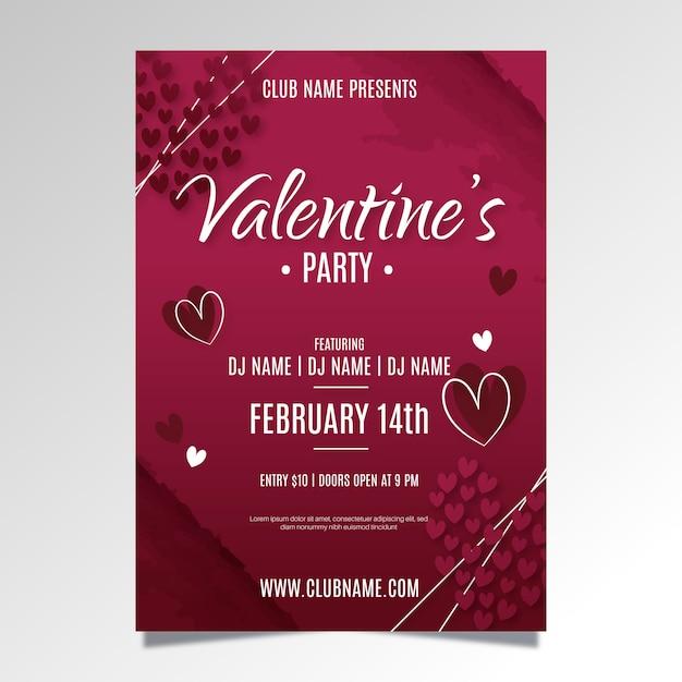 Flaches design valentinstag party plakat vorlage ...
