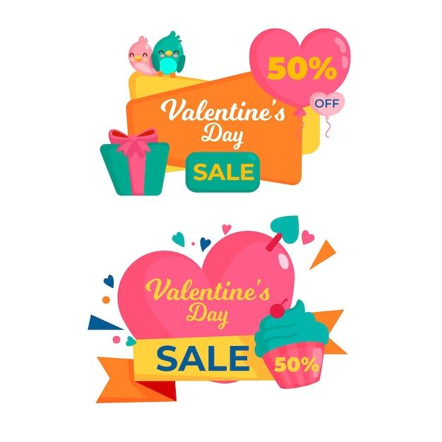 Flaches design valentinstag verkauf banner vorlage Kostenlosen Vektoren