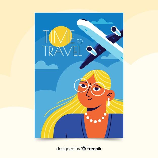 Flaches design vintage reiseplakat Kostenlosen Vektoren