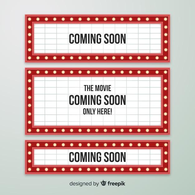 Flaches design vintage theater zeichen sammlung Kostenlosen Vektoren