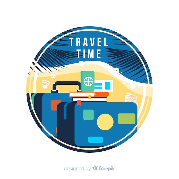 Flaches design vintage travel label Kostenlosen Vektoren