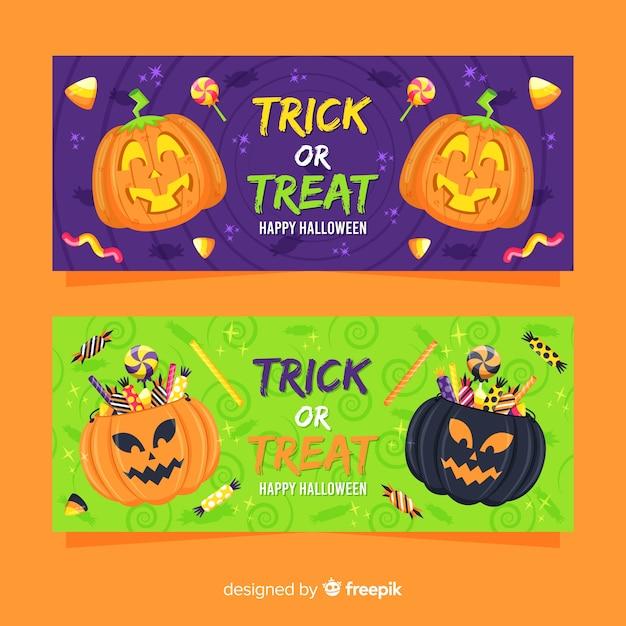 Flaches design von halloween-fahnen Kostenlosen Vektoren