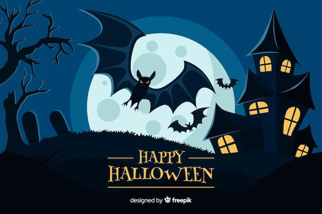 Flaches design von halloween-hintergrund Kostenlosen Vektoren