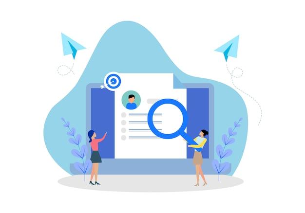 Flaches design webseitenvorlagen von online-rekrutierung job Premium Vektoren