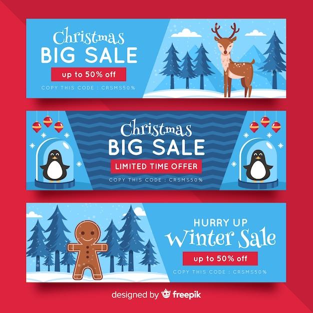 Flaches design weihnachten banner vorlage Kostenlosen Vektoren