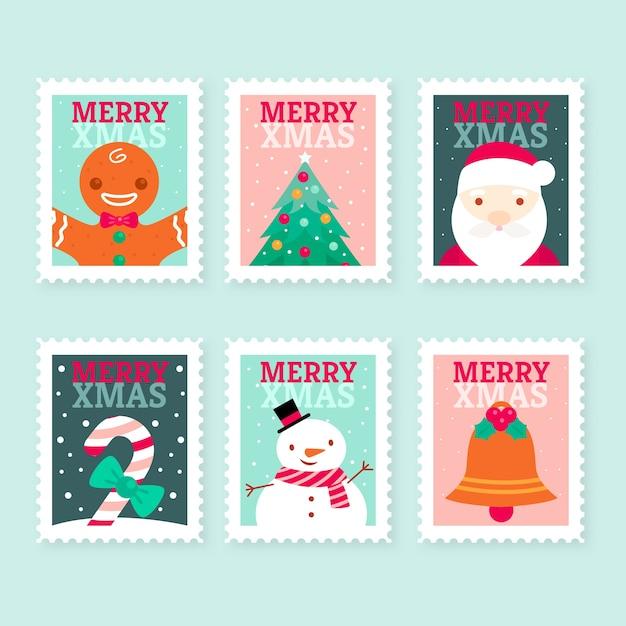 Flaches design weihnachten briefmarkensammlung Kostenlosen Vektoren