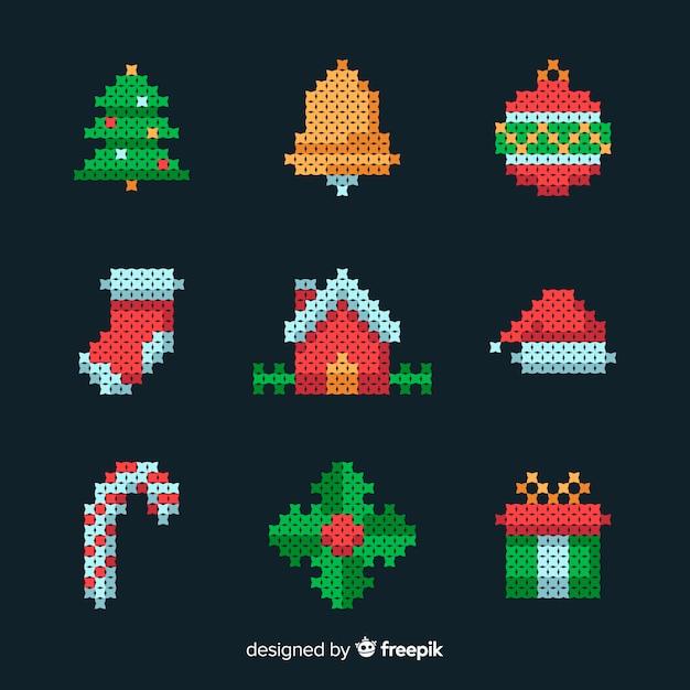 Flaches design weihnachten elementsammlung Kostenlosen Vektoren