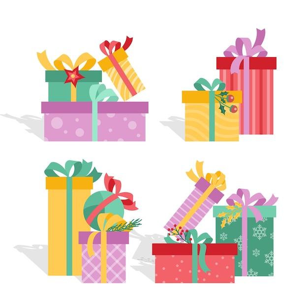 Flaches design weihnachten gif-sammlung Kostenlosen Vektoren