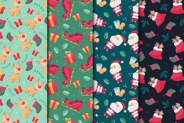 Flaches design weihnachten mustersammlung Kostenlosen Vektoren