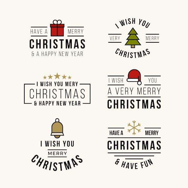Flaches design weihnachten schriftzug abzeichensammlung Kostenlosen Vektoren