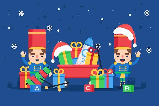 Flaches design weihnachten spielzeug hintergrund Kostenlosen Vektoren