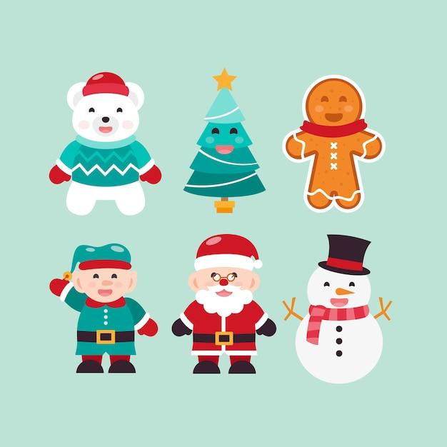 Flaches design weihnachten zeichen sammlung Kostenlosen Vektoren