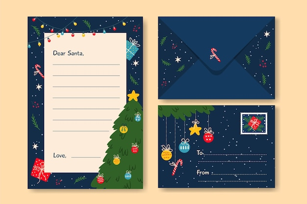 Flaches design weihnachtsbriefpapier-schablonensammlung Kostenlosen Vektoren