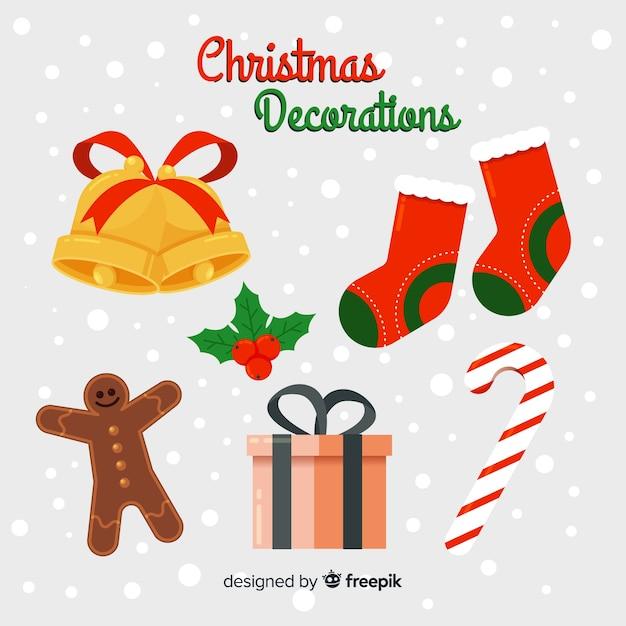 Flaches design weihnachtsdekoration pack Kostenlosen Vektoren