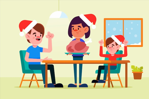 Flaches design weihnachtsfamilien-szenenkonzept Kostenlosen Vektoren