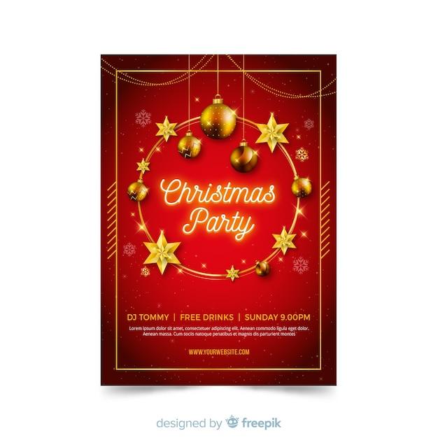 Flaches design weihnachtsfeier plakat vorlage Kostenlosen Vektoren