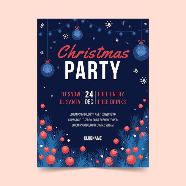 Flaches design weihnachtsfeier plakat vorlage | Kostenlose ...