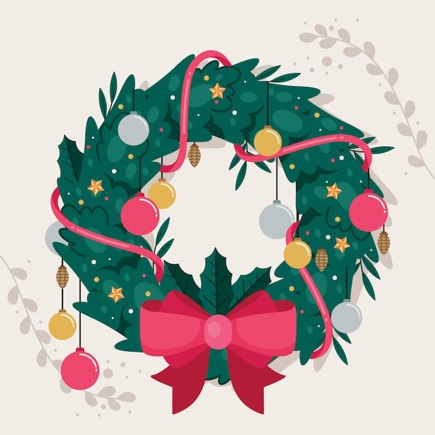 Flaches design weihnachtskranz konzept Kostenlosen Vektoren