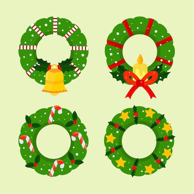 Flaches design weihnachtskranz sammlung Kostenlosen Vektoren