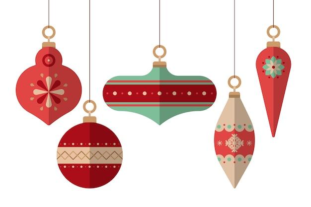 Flaches design weihnachtskugeln gesetzt Kostenlosen Vektoren