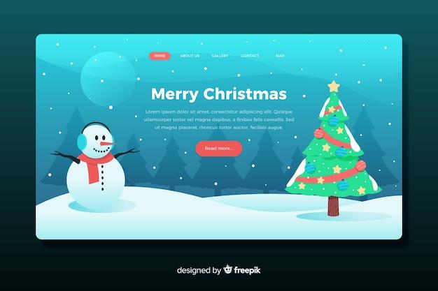 Flaches design weihnachtslandung seitenvorlage Kostenlosen Vektoren