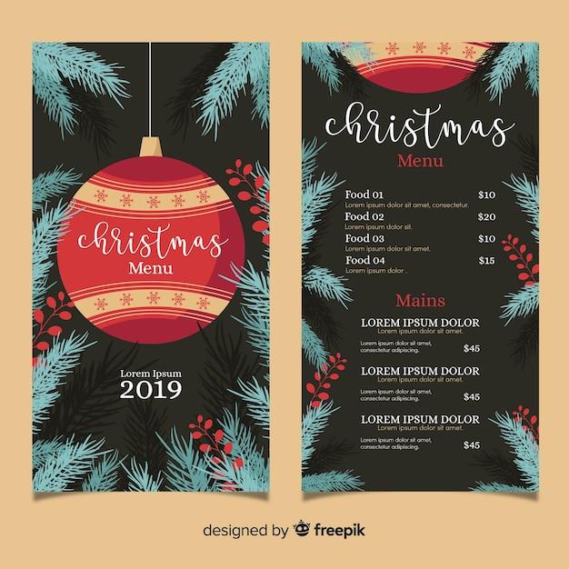 Flaches design weihnachtsmenüvorlage Kostenlosen Vektoren
