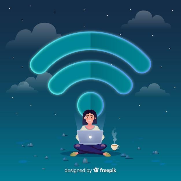 Flaches design wifi-netzwerk-konzept Kostenlosen Vektoren