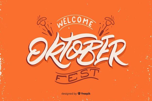 Flaches design willkommen oktoberfest Kostenlosen Vektoren