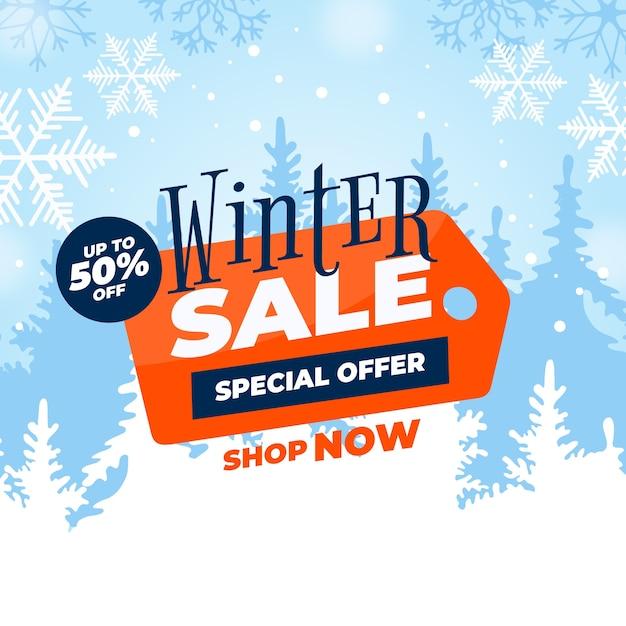 Flaches design winter sale banner konzept Kostenlosen Vektoren