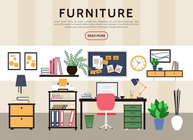 Flaches designer-arbeitsplatzkonzept Kostenlosen Vektoren