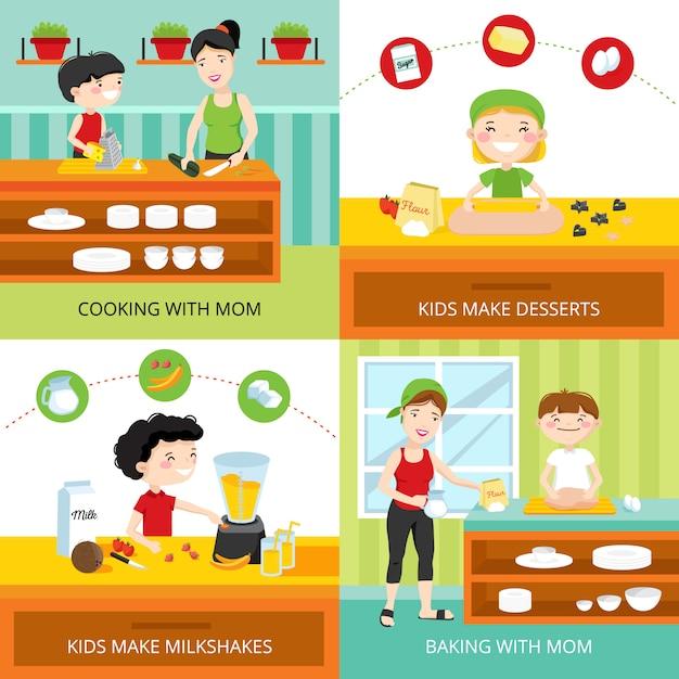 Flaches designkonzept mit den kindern, die milchshakes machen Kostenlosen Vektoren