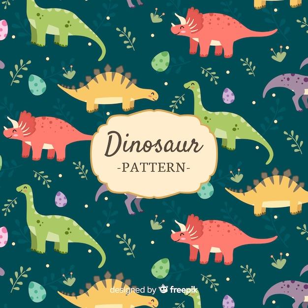 Flaches dinosauriermuster Kostenlosen Vektoren