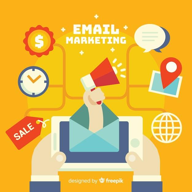 Flaches e-mail-marketing Kostenlosen Vektoren