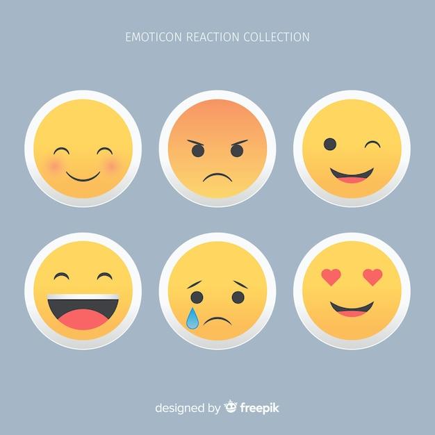 Flaches emoticon-reaktionskollektiv Kostenlosen Vektoren
