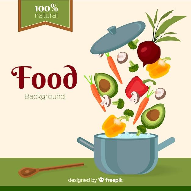 Flaches essen hintergrund Kostenlosen Vektoren