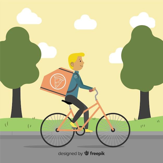 Flaches fahrrad-lieferkonzept Kostenlosen Vektoren