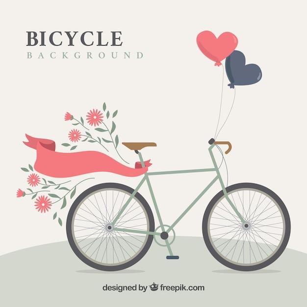 Flaches fahrrad mit schönen elementen Kostenlosen Vektoren